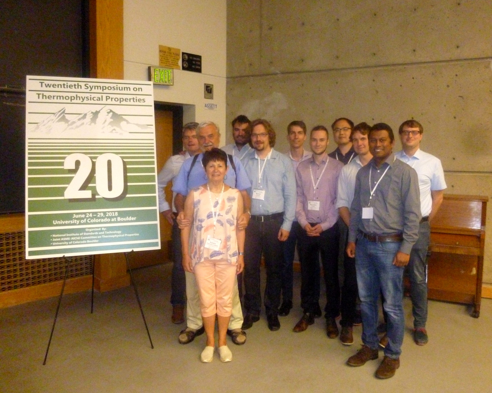 Group photo at the 20th Symposium on Thermophysical Properties in Boulder, CO including the Touloukian Awardee Alfred Leipertz and Nadejda Popovska-Leipertz
